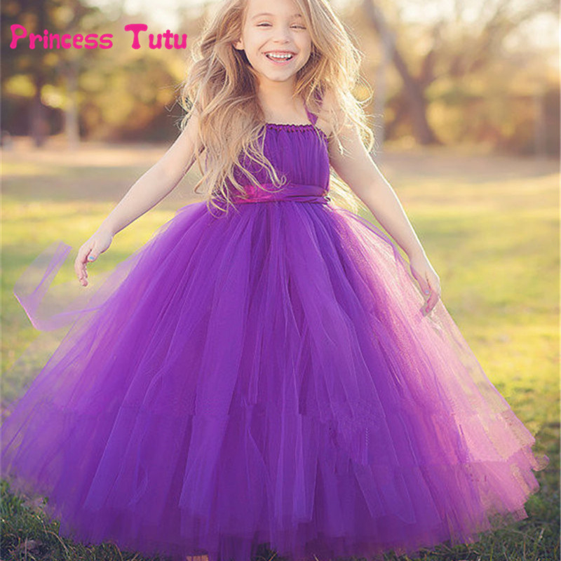 New Cute Tulle Flower Princess Wedding Girls Dress Bridesmaid Party Kids Clothes